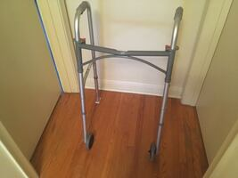 "Folding Walker - DRIVE MEDICAL - 5"" front wheels and back sliders"
