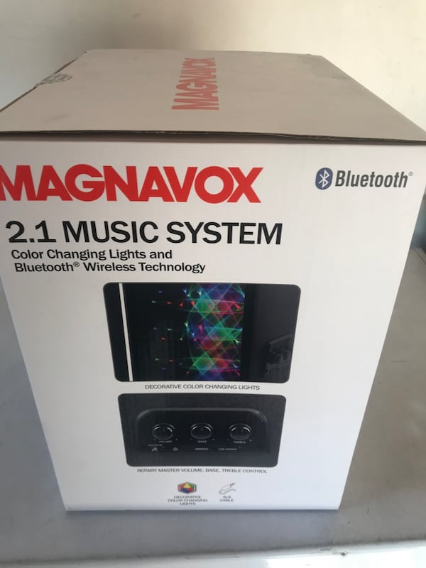 Magnavox 2.1 music system color changing lights and Bluetooth ee33f9e1-c818-4c8d-9fb5-cd54e43bf02b