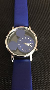 Round silver mickey mouse themed analog watch with blue leather band Monterey Park, 91755