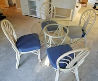 Wood and glass top table w/4 chairs