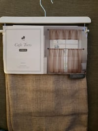 BRAND NEW Curtains, Valance, Cafe Tiers, burlap, wheat
