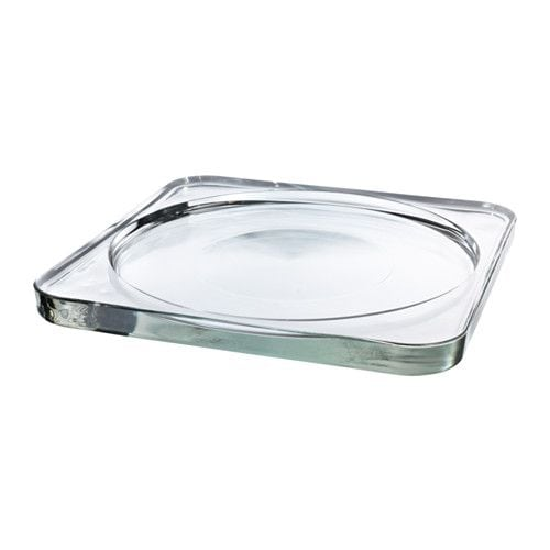 clear glass candle dish