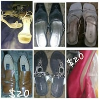 six assorted-pair of women's footwear lot collage
