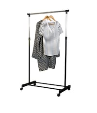 On wheels clothes rack