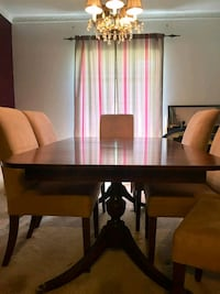 Must sell! Reduced.  Antique dining table & chairs