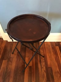 round brown wooden folding table 649 mi