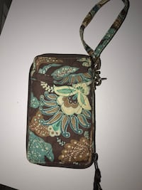 brown, teal, and beige Vera Bradley wristlet