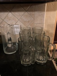 Beer mugs and pitcher