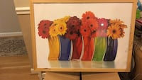 red and yellow flowers in vase painting