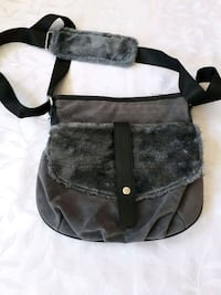 black and gray faux suede crossbody bag London