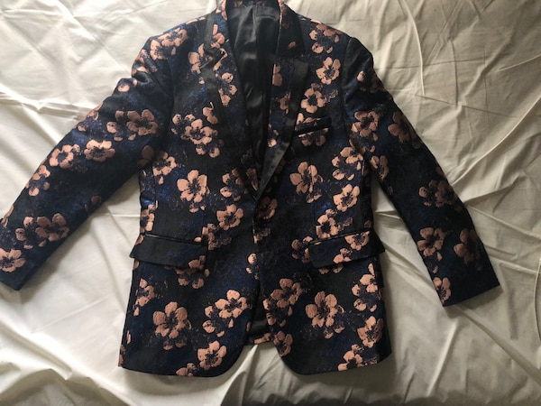 TR Premium Blazer black and blue with rose gold flowers