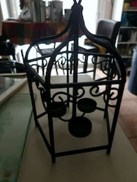 Wrought iron triple tealight holder.  Whitby, L1N 8X2