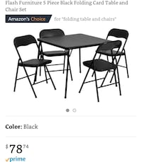 5 Piece Black Folding Card Table and Chair Set Austin, 78741