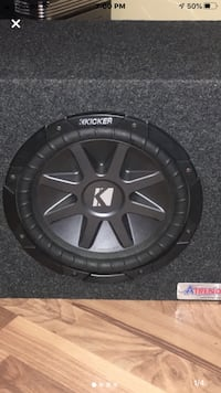 "10"" KICKER SUBWOOFER, MB QUART AMP & BOX."