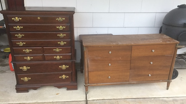 two brown wooden 3-drawer chests