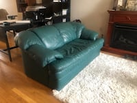 Teal leather loveseat