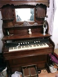 brown wooden upright piano with chair Barstow, 92311
