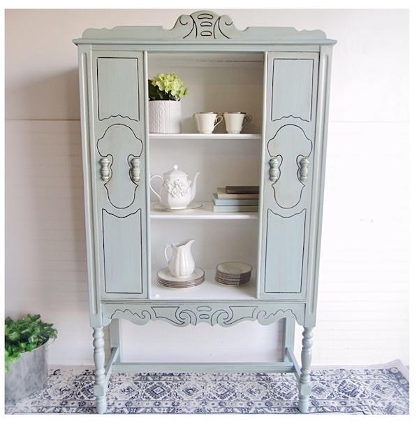 Farmhouse Style Jacobean Antique China Cabinet Hutch White Light Blue Green  Brown Glazed Refinished Shabby Chic Dining Room Kitchen Entry Way