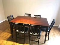 Dining set with six folding chairs in leather Sainte-Julie, J3E 2H9