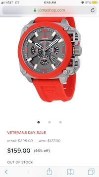 round red and silver chronograph watch with red leather strap Athens, 30605