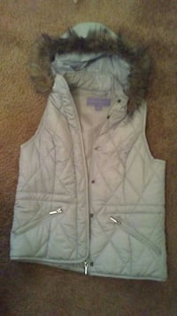 white and brown button-up hooded vest