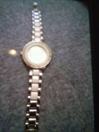 round silver analog watch with link bracelet Morristown