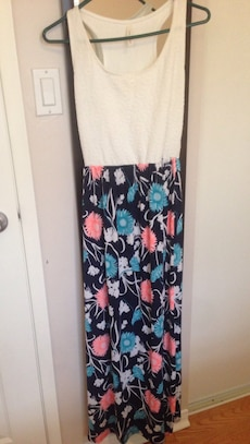 white blue and pink floral print sleeveless dress