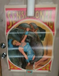 Antique 1950's Circus Poster Chillicothe, 45601