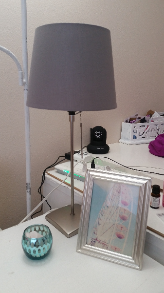 gray table lamp base with gray lamp shade