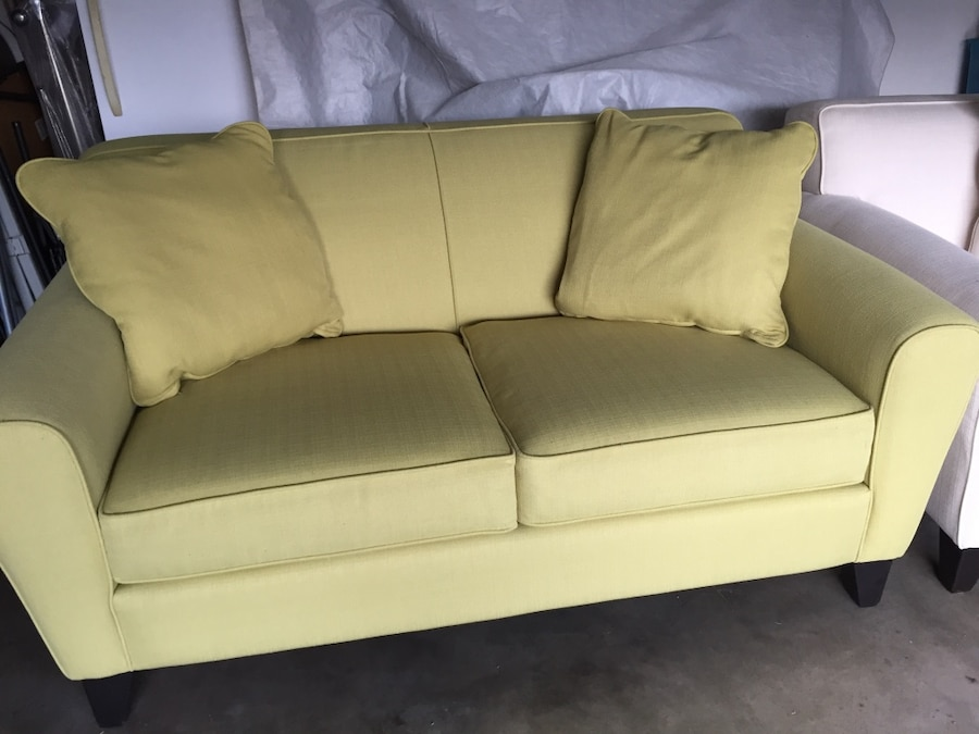 used 2 seat sofa with two throw pillows for sale in bedford letgo rh us letgo com