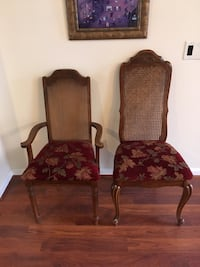 two brown wooden framed red padded armchairs Wilmington, 28409