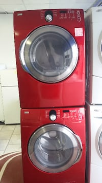 red Samsung front-load clothes washer