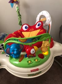 baby's white and red Fisher-Price walker 4 mi