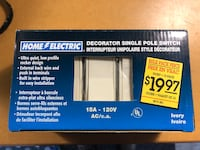 Brand new Decor Electric Single pole switches Oakville