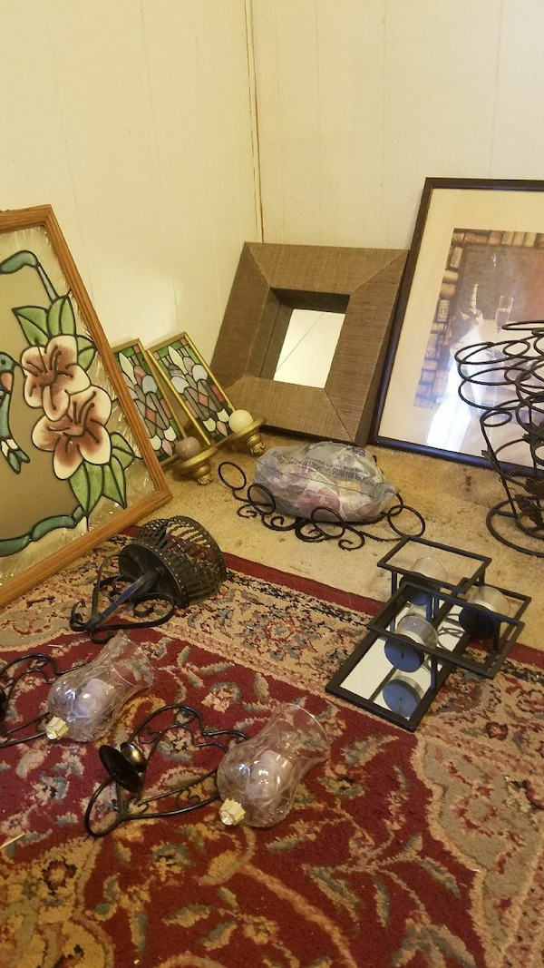 several lamps and photo frames