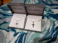 Cross necklaces (both).