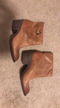 pair of brown leather perforated round toe chunky heeled booties Parkville, 21234