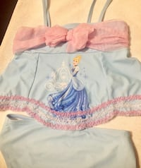 Girls size 10/12 Disney store Cinderella swimsuit.  Tankini style separate top and bottom in baby blue with pink accents.  Gently used from NS home. Elizabethton, 37643
