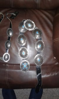 silver-colored necklace with blue gemstones TORONTO