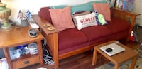 Lovely Red Couch and Side Table