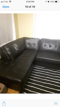 Black bonded leather sectional... GUC.. Markham, L6E 1M4