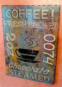 Vintage Rustic Distressed Finish Coffee Sign