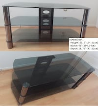 TV Stand - Tempered Glass Shelves
