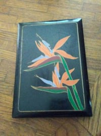 Bird of Paradise painting with black wooden frame