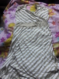 women's brown and white striped dress