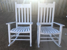 Rocking Chairs: 2 White Wood Outdoor Porch Rocker