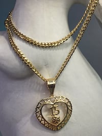 """18k GPL 15 Anos Heart Pendant With Chain Necklace 18"""" 3mm"""