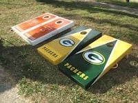 two yellow and blue wooden boards Lorain
