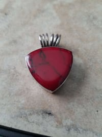 Red Jasper(?) Sterling, Artist Signed pendant South Charleston, 45368