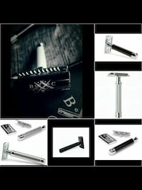black and stainless steel shaver with leather case  Aurora, L4G 5W1